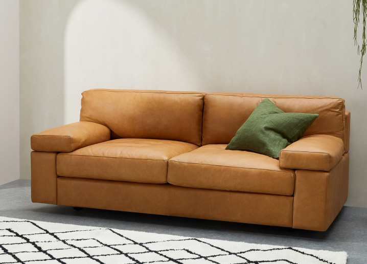 gioffre slimline leather sofa